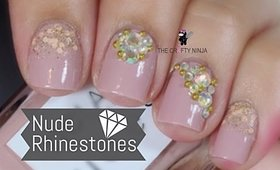 Nude and Rhinestone Nail Art by The Crafty Ninja