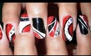 Black, Red, and White multi Design Nails!!!