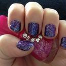 violett glitter nails