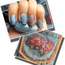 Floral Denim Nails
