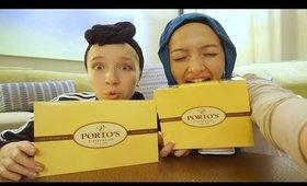 I ALMOST DIED EATING PORTOS IN L.A.!!!!! MUKBANG VLOG| Nura Afia