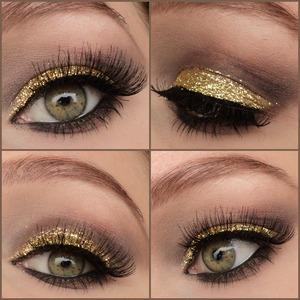 Pictorial for this look: http://www.beautylish.com/f/qunrgv/golden-glitter-eyes-pictorial Instagram: http://instagram.com/makeupbyeline/