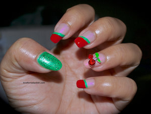 Detail tutorial http://lovefornailpolish.com/3d-nail-art-decoration-red-cherry-rhinestones-from-bornpretty-store