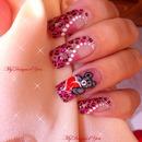 Cute Valentine's Day Teddy Bear & leopard Nails