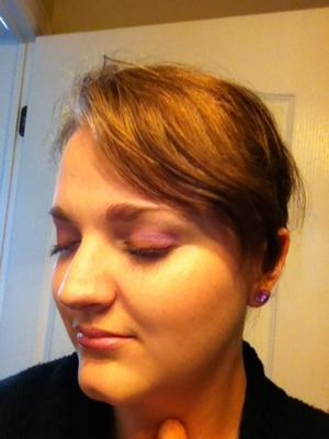 "Just got the side so that you could get all of the colors.  Some random part of me just thought of ""purple mountains majesty, and amber waves of grain"" hehe.  I used a warm purple on my lid, and a cool toned purple in my crease. I lined with a bright metallic copper, leaning almost orange. :)"