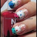 Skittle Polkadot nail art