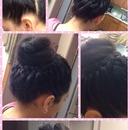 A braided hair with a bun