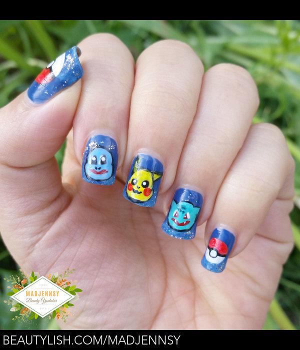 Pokemon Nail Art Pikachu Squirtle Bulbasaur Madjennsy