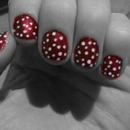red and white polka dots
