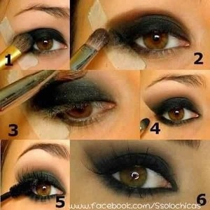 Smokey eye shadow steps from 1-5
