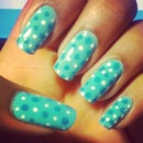 blue and white polka