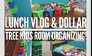 Organizando cuarto de niños con productos dollar tree | Lonche con mi hijo Vlog