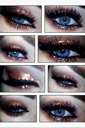 Copper glitter eye
