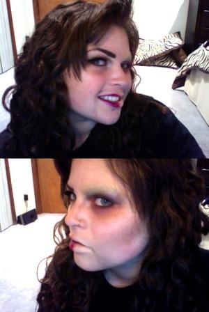 """Halloween """"Half Face"""" makeup trial, minus the SFX makeup"""