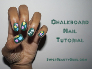 I did this chalkboard look around the beginning of the school year, and the matte finish makes them look so much like chalkboards! Chalkboard Nail Tutorial: http://superbeautyguru.com/chalkboard-nail-tutorial/