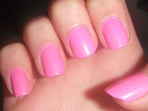 Sally Hansen Xtreme Wear- Bubblegum Pink.  Base for Blue Glitter Swirl nails.