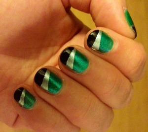 teal, silver and black
