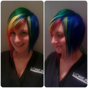 asymmetric cut and rainbow color for client Chloe
