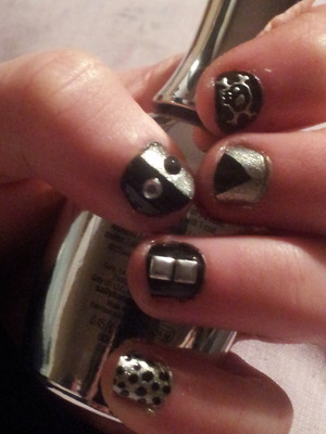 fun black and silver themed nails