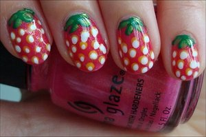 Strawberry Nails Nail tutorial & more photos here: http://www.swatchandlearn.com/nail-art-tutorial-strawberry-nails/