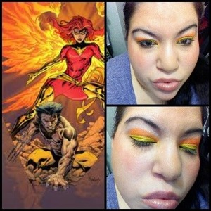 makeup theme from the character phoenix on xmen.