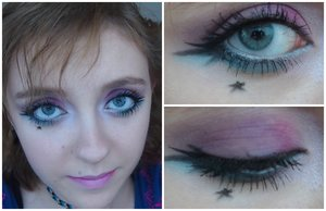 This is a pink and blue look that I did and I decided last minute to add a little star where i have a natural freckle!