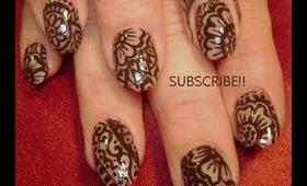 HENNA mehendi (mehndi) heena arabic indian tattoo design: robin moses nail art tutorial