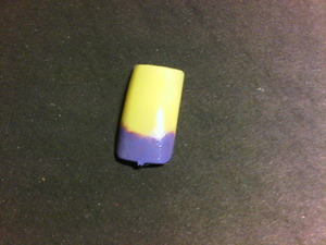 Sally Hansen Mellow Yellow with purple sponged french.