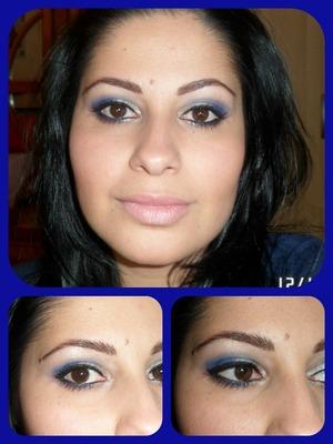 Ojos en azul y plateado