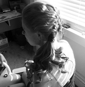 My friend's amazing work. Did my hair for my 8th grade dance