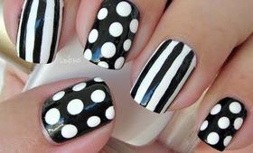 Nail Art - Dots and Stripes - Decoracion de uñas