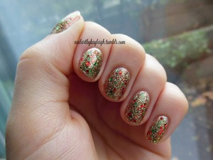 three glitters layered for a sparkly festive mani!