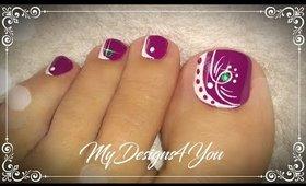 Beautiful Purple Toenail Art Design  ♥ Pedicure