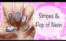 Stripes & A Pop Of Neon ♡ Nail Design