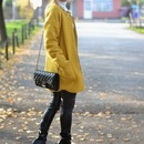 Pocketed Zippered Yellow Coat