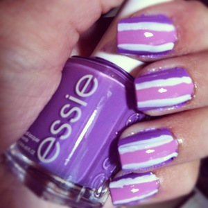 Colors used: Essie Play Date, OPI Lucky Lucky Lavender, Essie Blanc