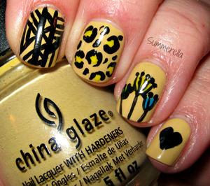 China Glaze Kalahari Kiss and acrylic paint.  summerella31.blogspot.com