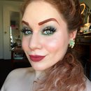 Elegant Glittery Coral and Pastel Green Smokey Eye Makeup
