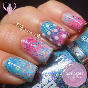 A trippy coloured mani design for Easter, using Nails Inc. Sprinkles - Pudding Lane, Topping Lane and Sweets Way, dotted with OPI My Boyfriend Scales Walls. More swatches, review and designs here: http://www.alacqueredaffair.com/Easter-2013-feat-Nails-Inc-Sprinkles-28961310