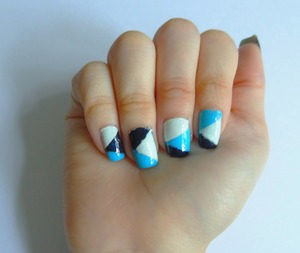 Hello! Here is a picture of my color block nails. I like the color combination together (: