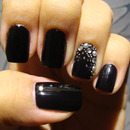 Black with crystals