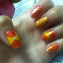 yellow & red nails(: