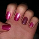 Frosty pink with purple matte accent nail with glossy tip