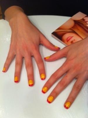 yellow & pink on KJ nail :)