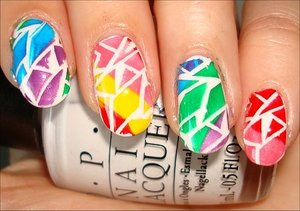 Rainbow Crackle Nails Nail tutorial & more photos here: http://www.swatchandlearn.com/nail-art-tutorial-rainbow-crackle-konadicure-using-bundle-monster-image-plate-bm-208-konad-special-nail-polishes-opi-alpine-snow/