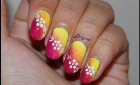 Yellow and Burgundy Ombre Nail Design with Flowers