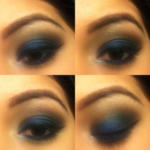 Caviar stick in sapphire laura mercier eyeshadow in cafe au lait mac eyeshadow in preferred blonde and carbon and e.l.f eyeliner