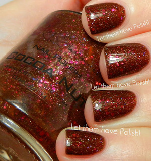 A beatiful Chocolatey creamy base packed full of Golden and Red Sparkle. SO unique and so wearable!