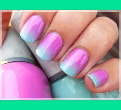 Ta Da Pink And Sky Blue Quot Ombre Nails Quot Magda A S Photo Beautylish