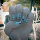 Light Blue Plaid nails